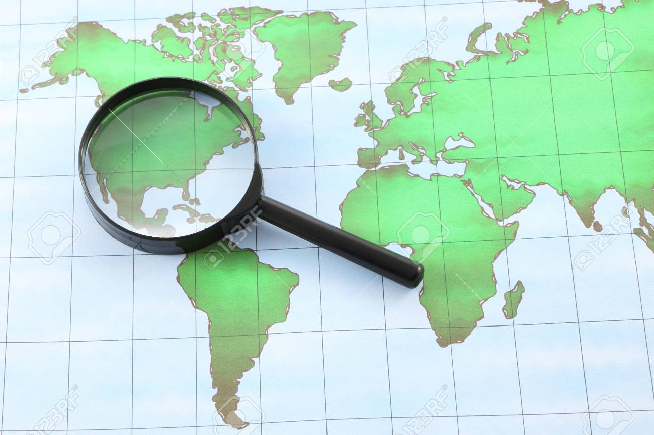 Magnifying glass black frame on world map paper stock photo magnifying glass black frame on world map paper stock photo 15977456 gumiabroncs Images