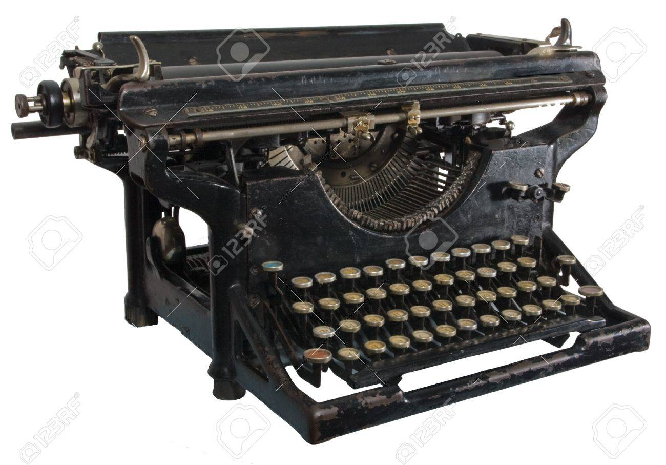 Old dirty rusty black mechanic typing machine with cyrillic characters isolated on white Stock Photo - 4370469