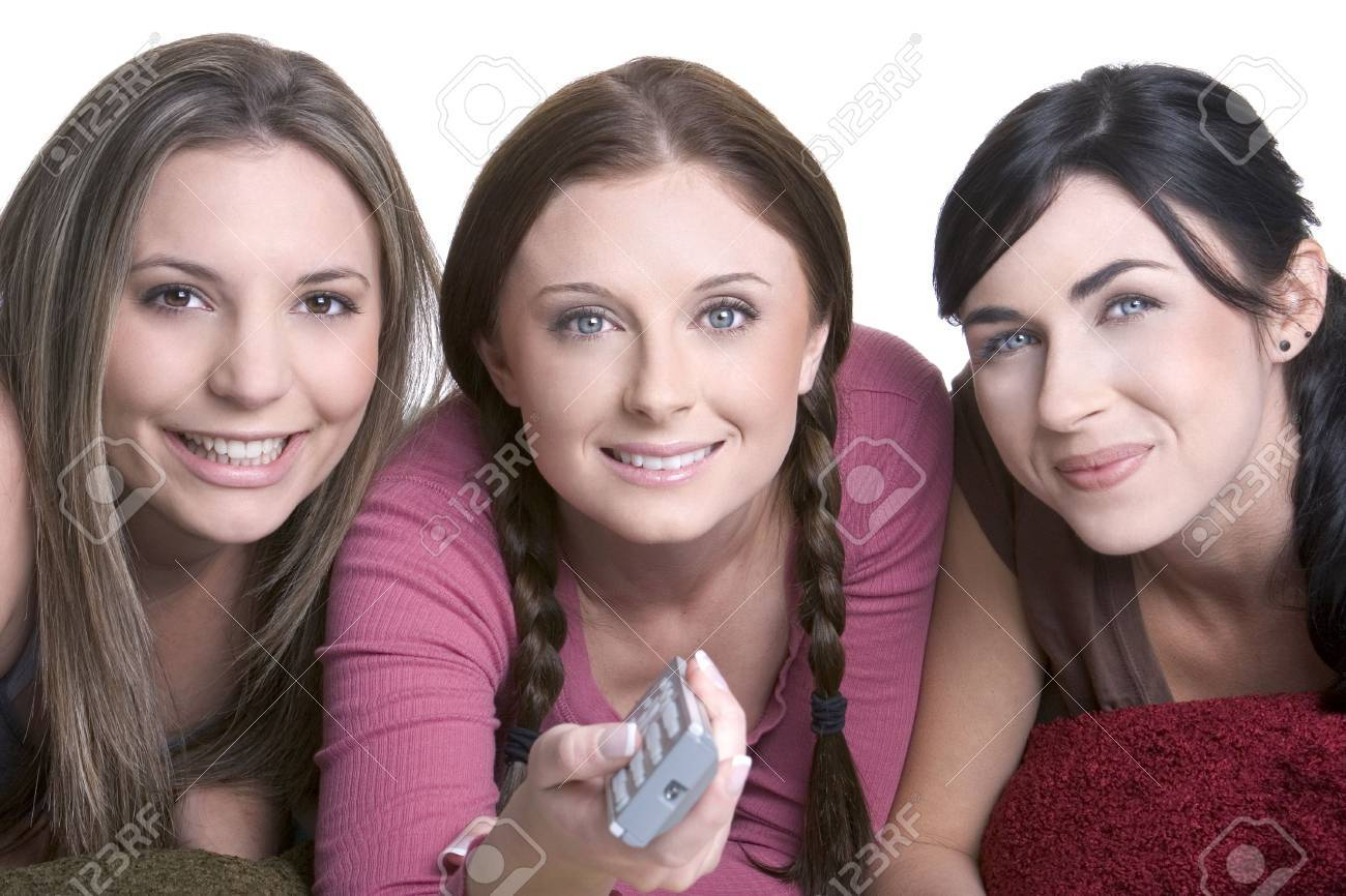 Girls Watching Television Stock Photo - 924876