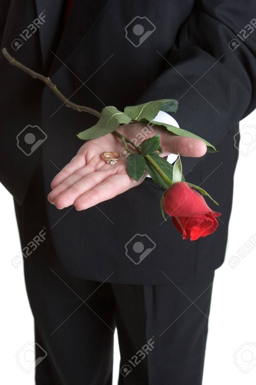 Holding Ring and Rose Stock Photo - 1078424