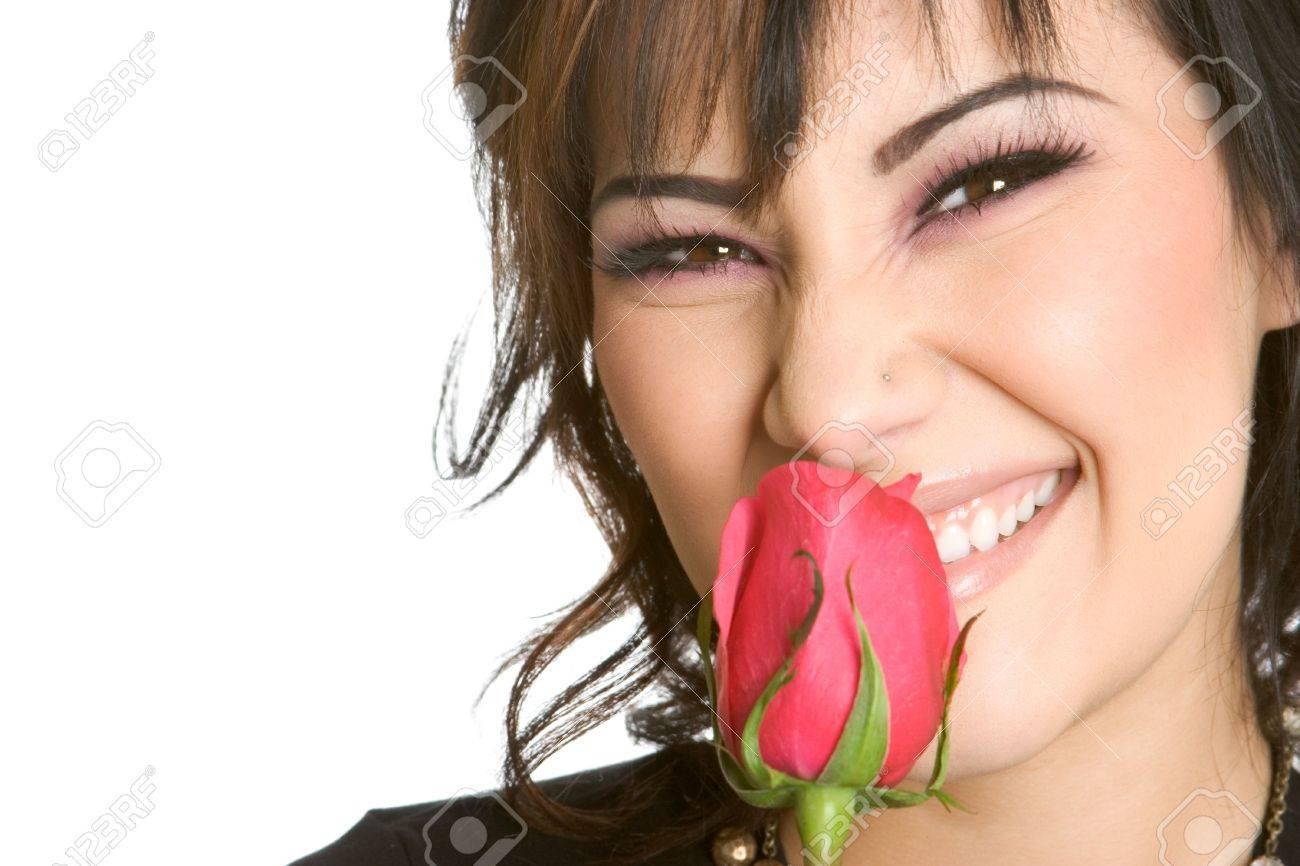 Girl Smelling Rose Stock Photo - 2377392