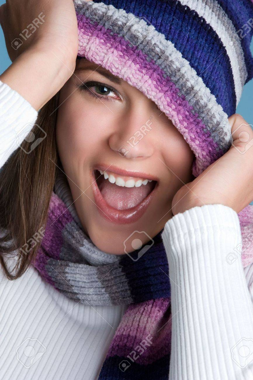 Laughing Winter Girl Stock Photo - 3811581
