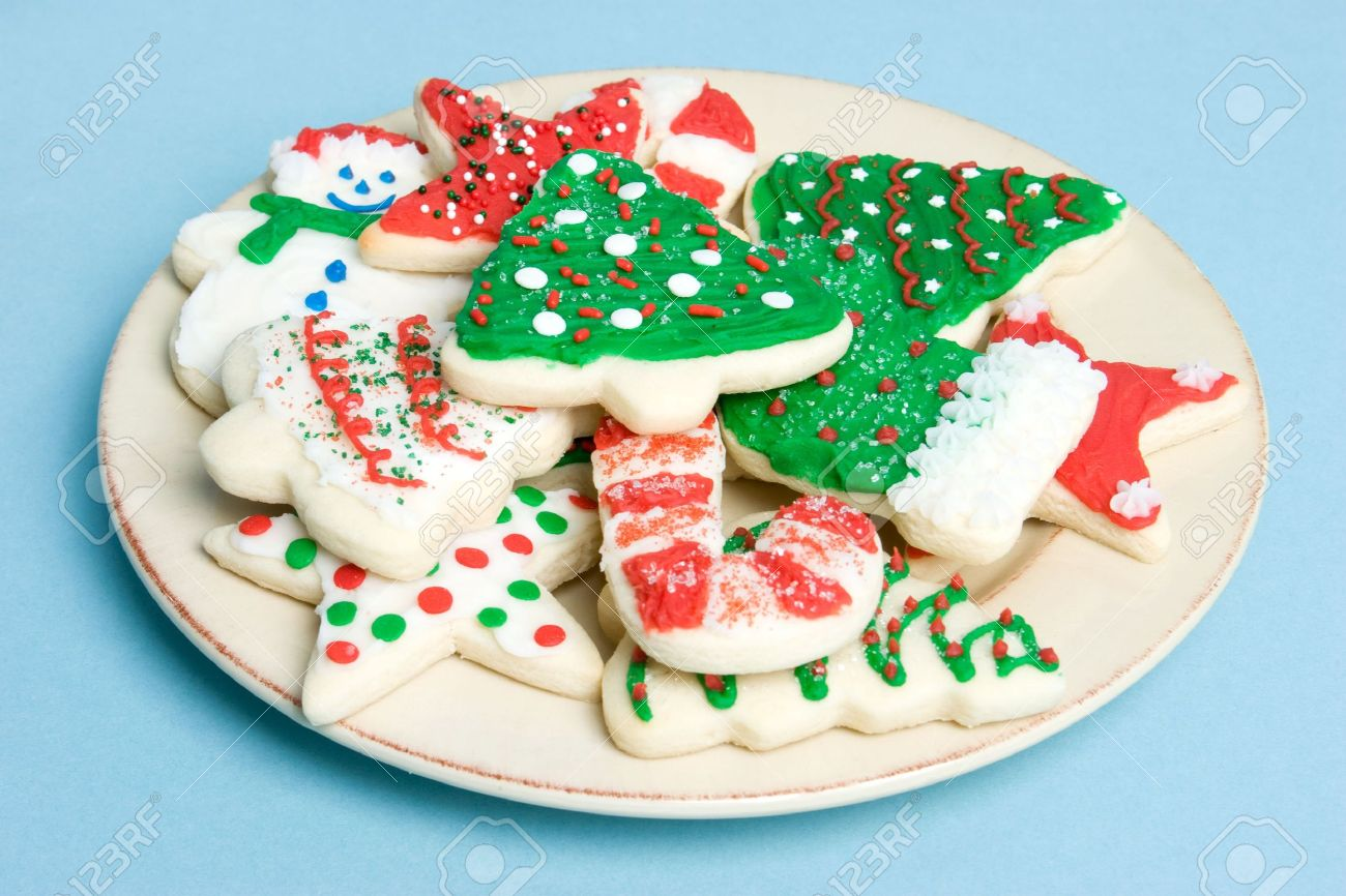 Christmas Cookies On Plate Stock Photo, Picture And Royalty Free ...