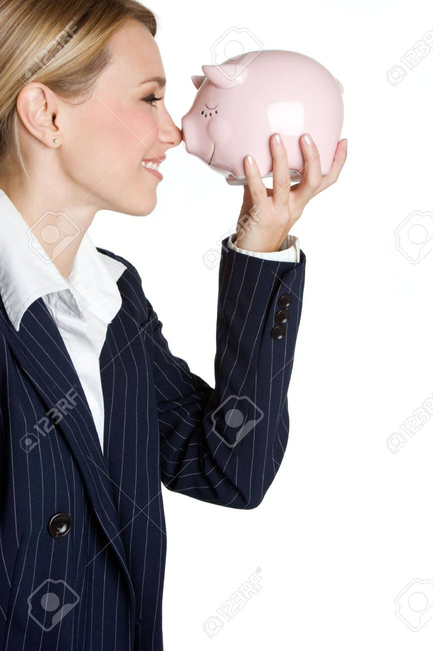 Businesswoman Holding Piggy Bank Stock Photo - 4041623