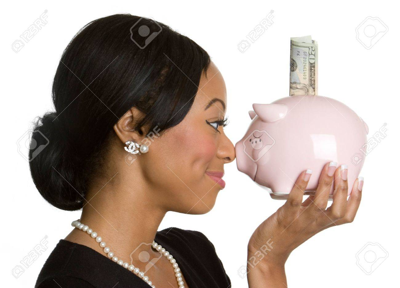 Woman Holding Piggy Bank Stock Photo - 4055804