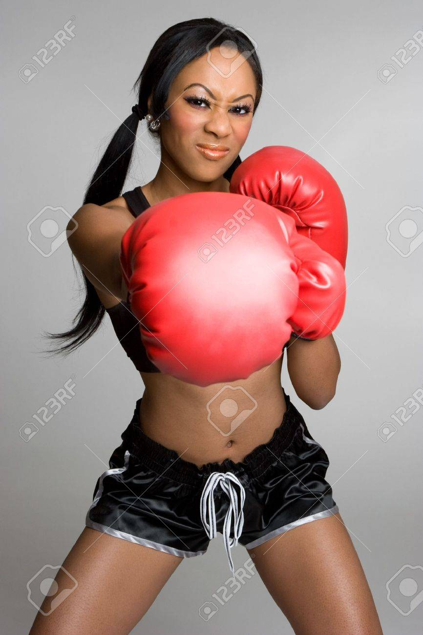 Angry Boxing Woman Stock Photo - 4201157