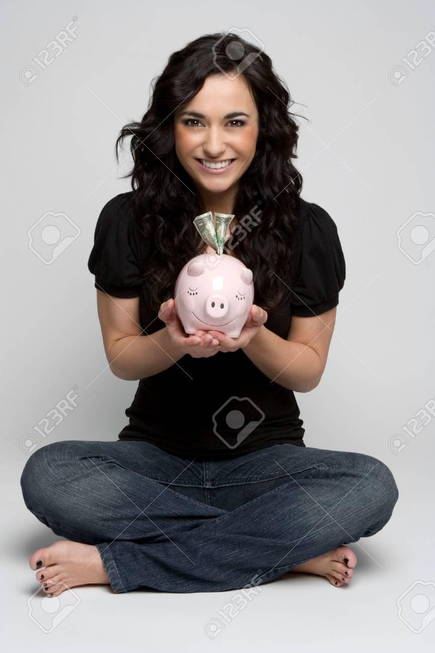 Woman Holding Piggy Bank Stock Photo - 4463342