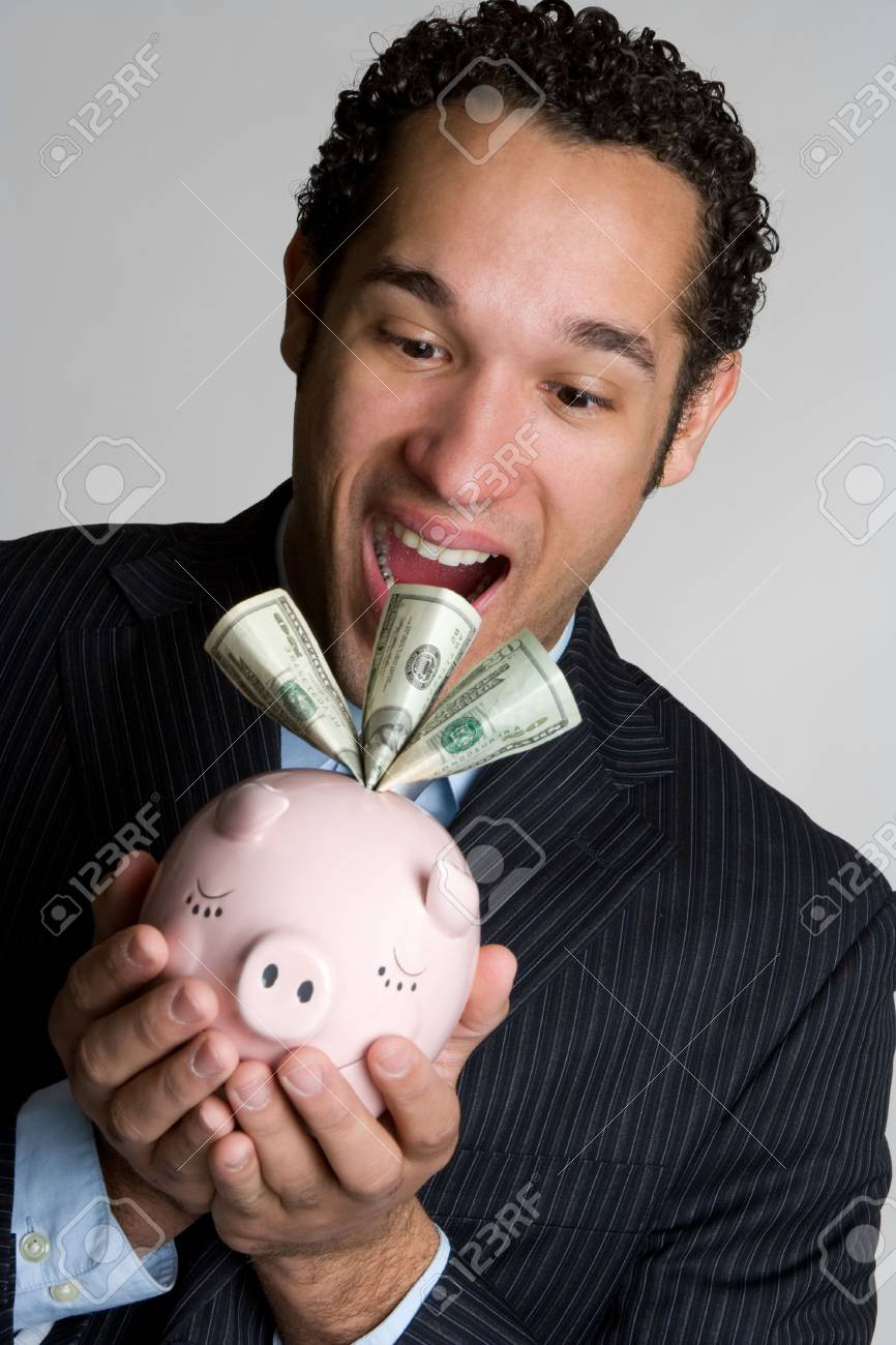 Shocked Piggy Bank Man Stock Photo - 4679620