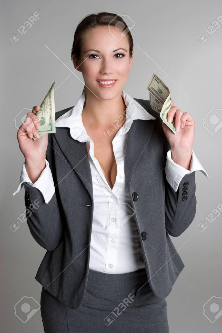 Businesswoman Holding Money Stock Photo - 4810087