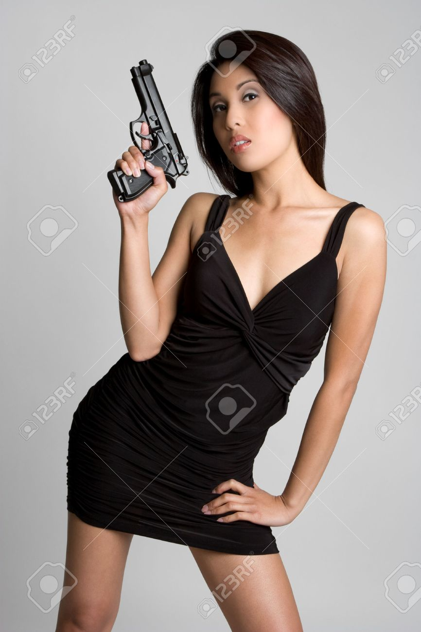 Asian Gun Woman Stock Photo - 4810088