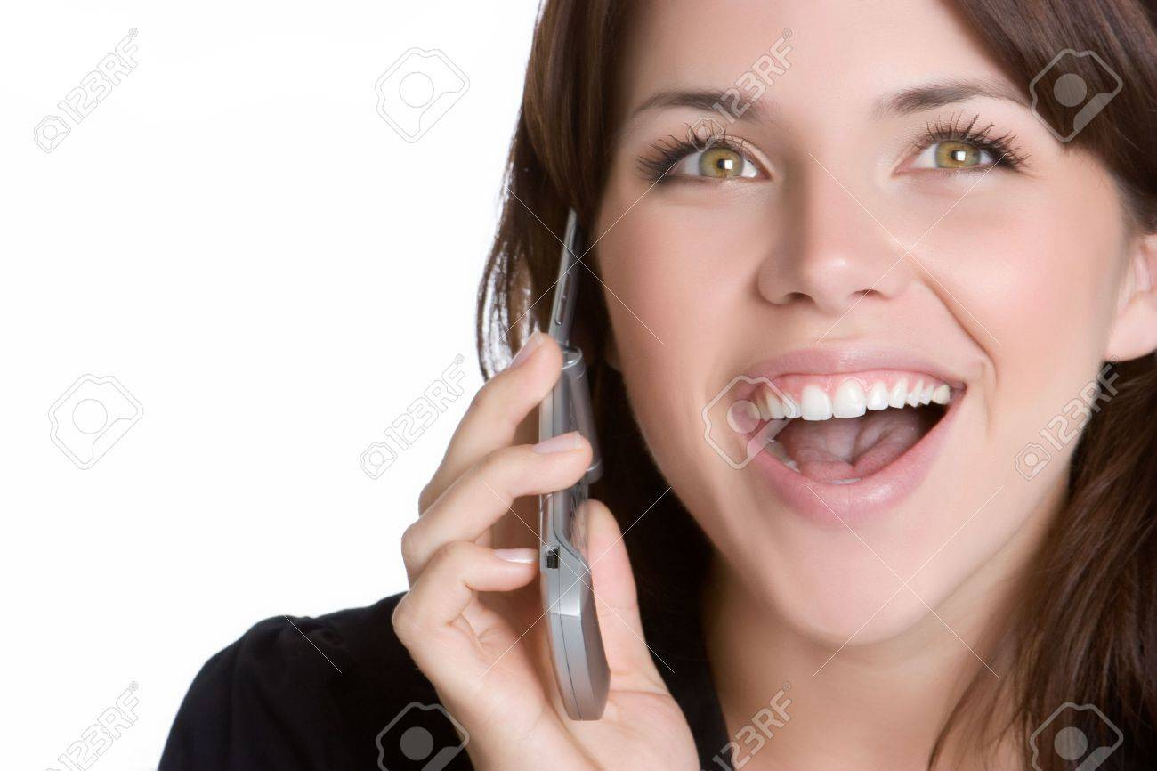 Smiling Phone Woman Stock Photo - 4870246