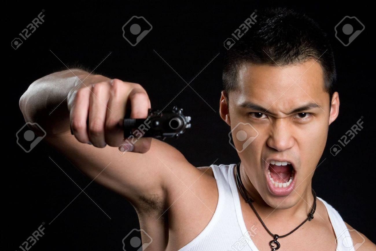 Asian Gun Man Stock Photo - 5045783