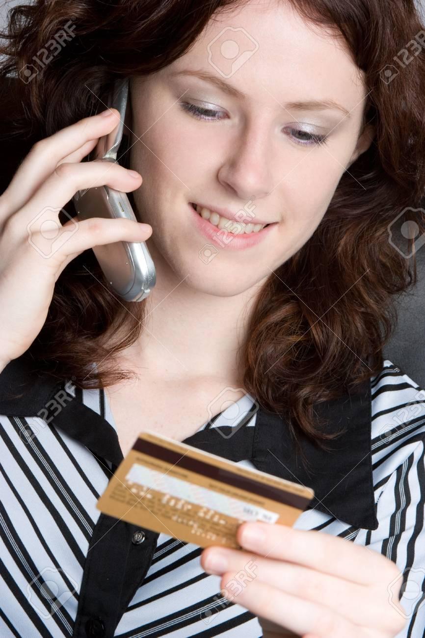 Credit Card Phone Woman Stock Photo - 5218589