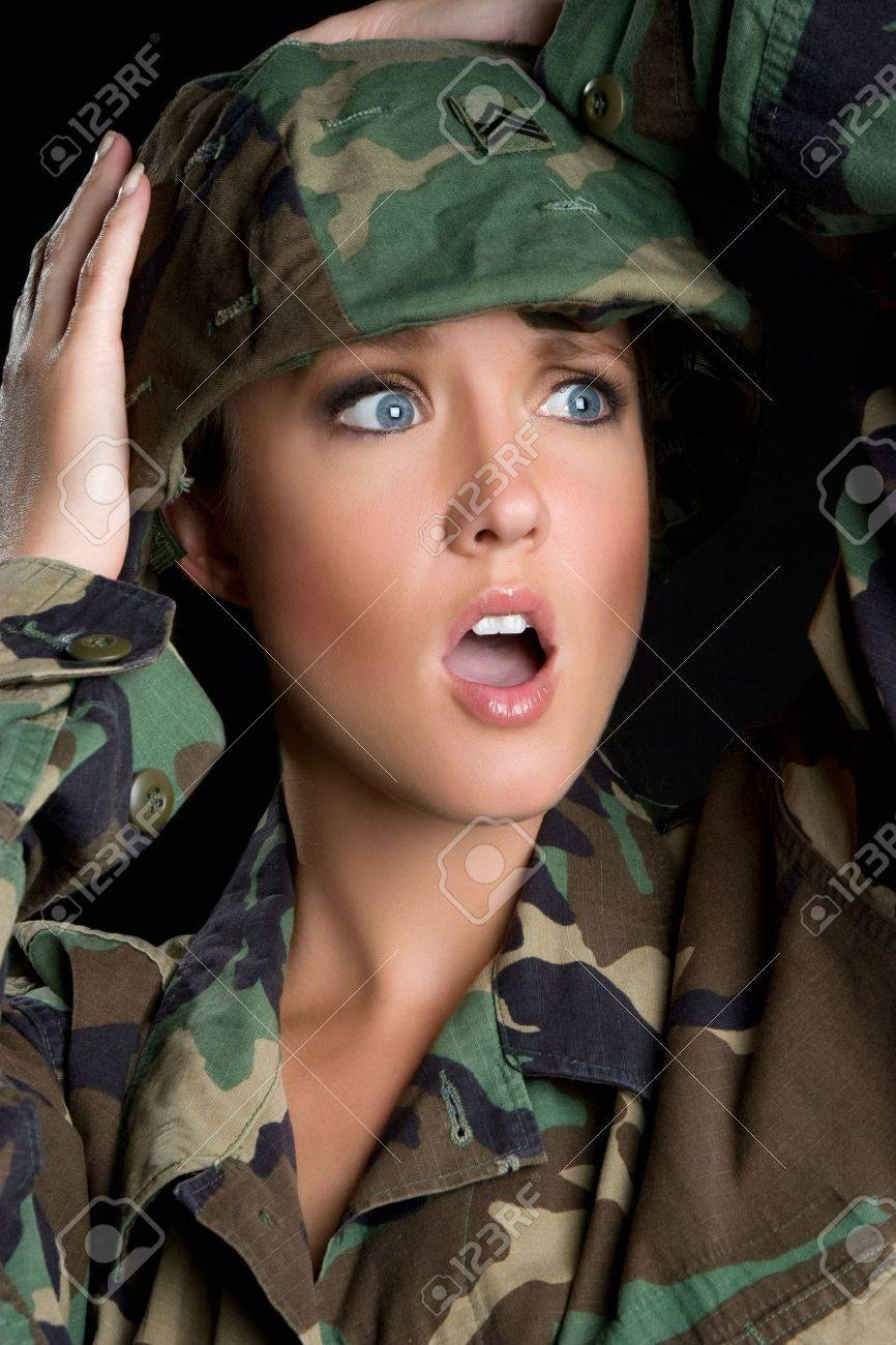 Shocked Military Woman Stock Photo - 5273429