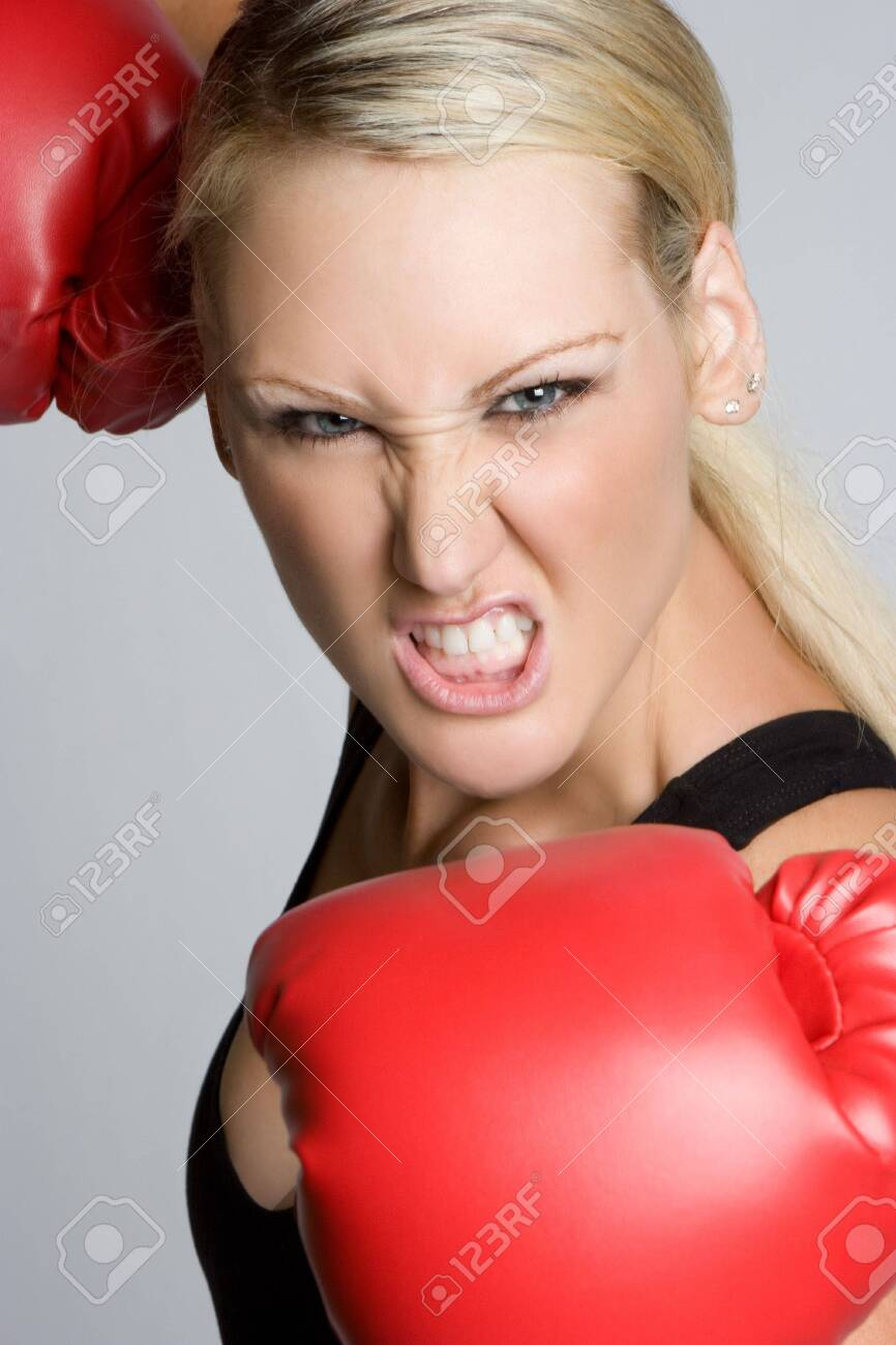 Aggressive Boxing Woman Stock Photo - 5501378