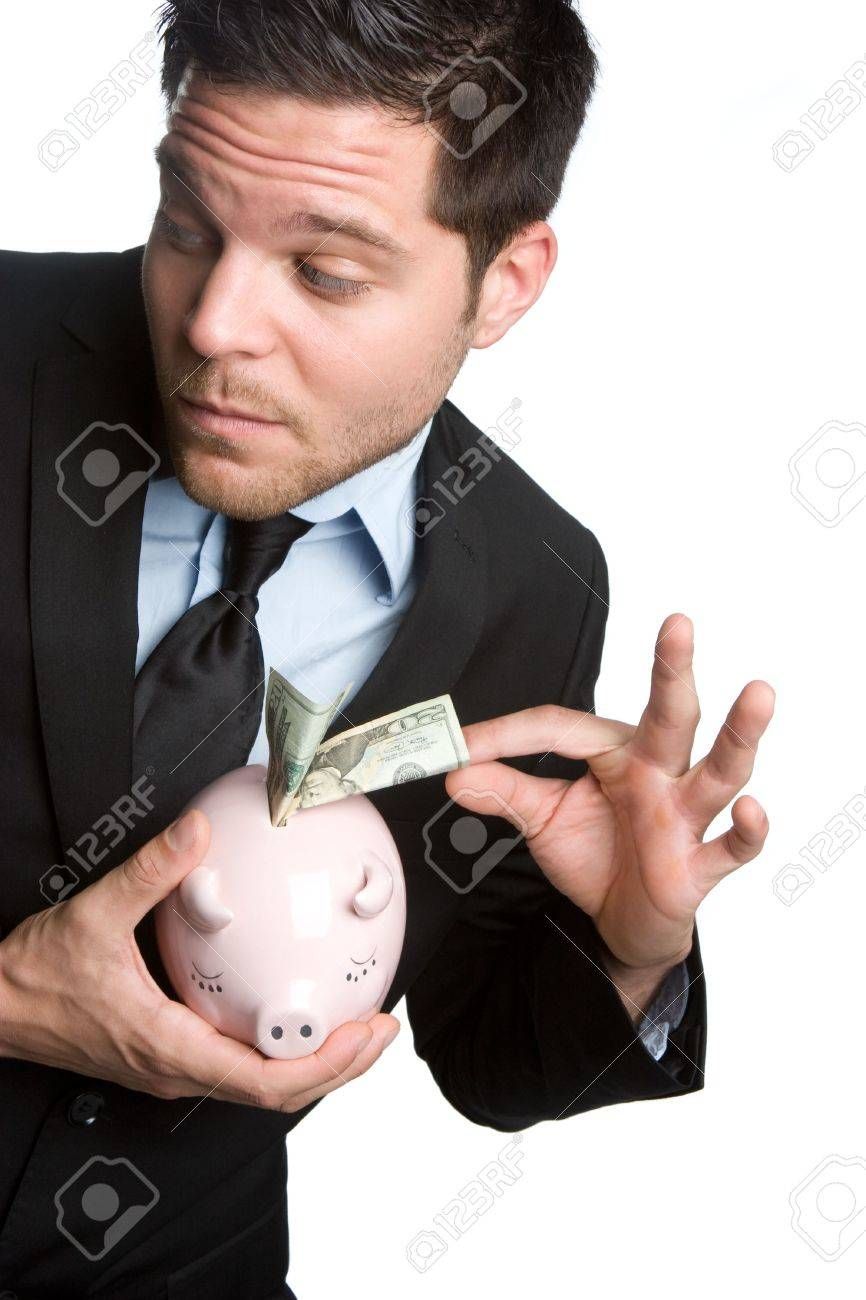 Man Stealing Money From Piggybank Stock Photo - 5518755