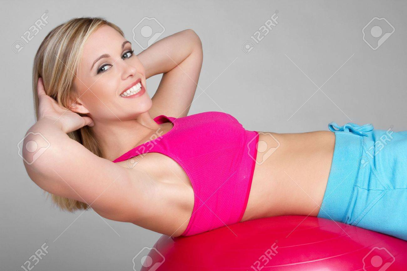 Smiling Situps Woman Stock Photo - 6179713