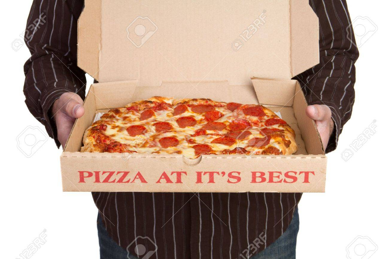 Man Holding Pizza Stock Photo - 6334377