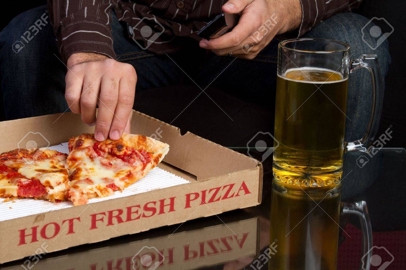Pizza and Beer Stock Photo - 6334365
