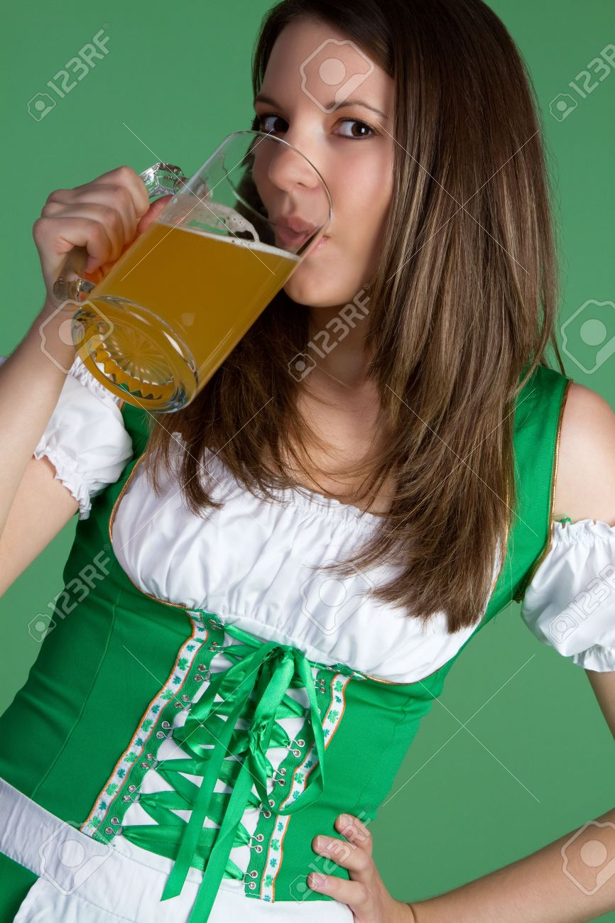 Irish Woman Drinking Beer Stock Photo - 6419287