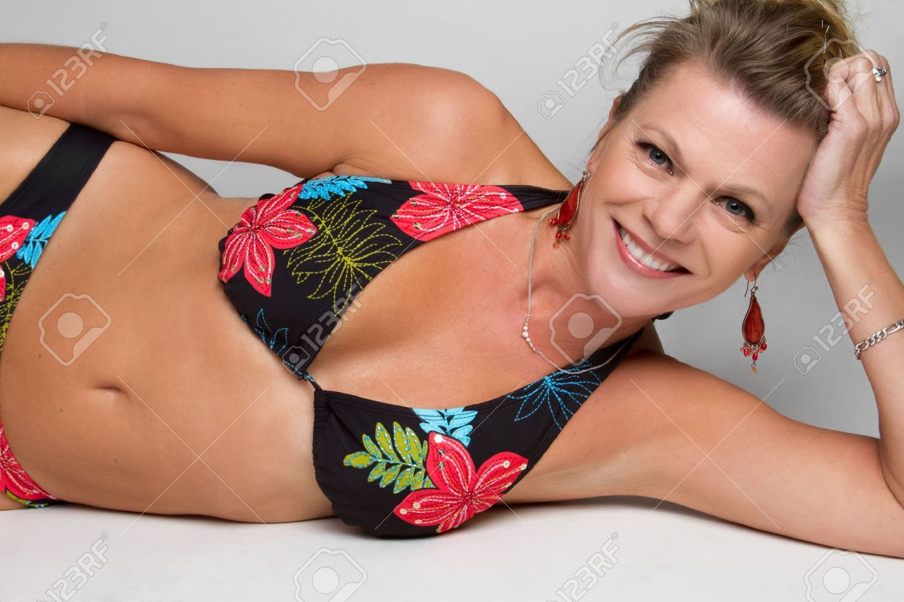 middle aged bikini woman stock photo picture and royalty free