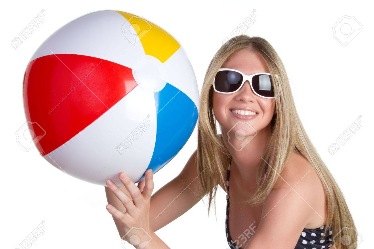 Woman Holding Beach Ball Stock Photo - 6736396