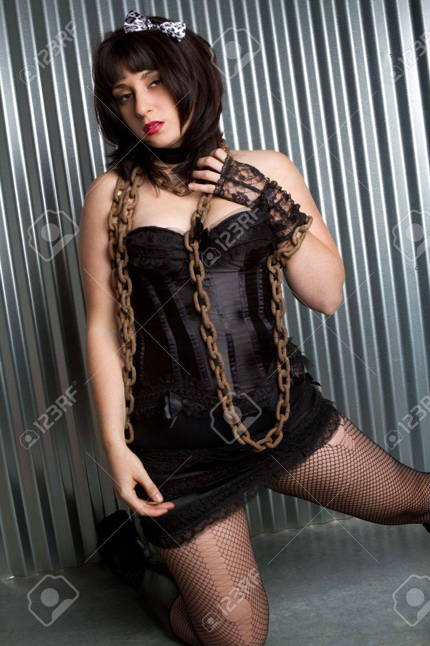 Girl Wrapped in Chains Stock Photo - 6763149
