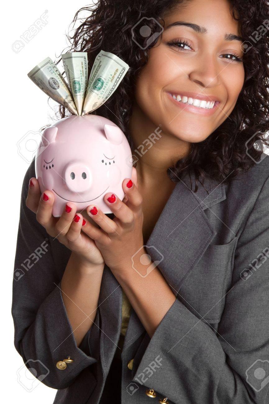 Piggy Bank Businesswoman Stock Photo - 6763167
