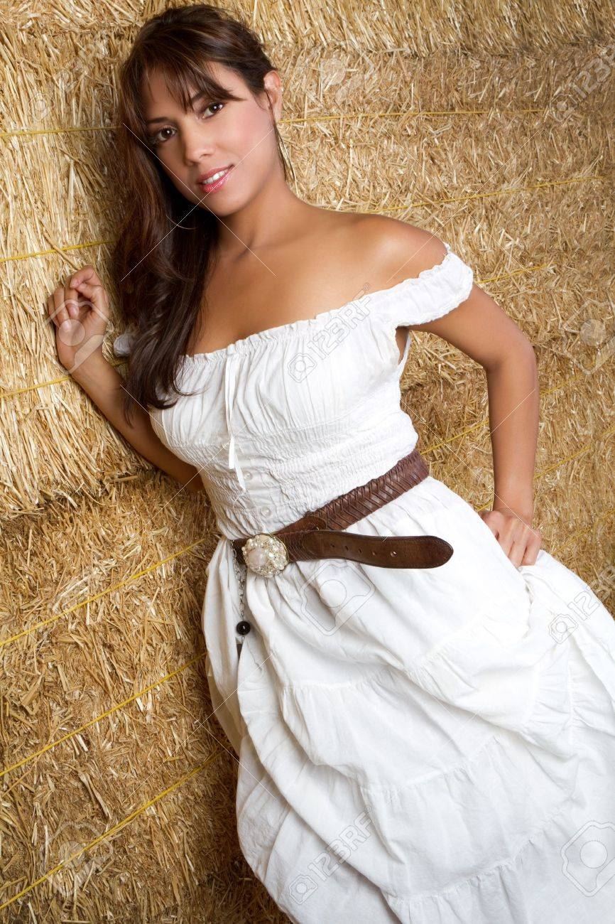 Mexican country girl in hay Stock Photo - 7148574