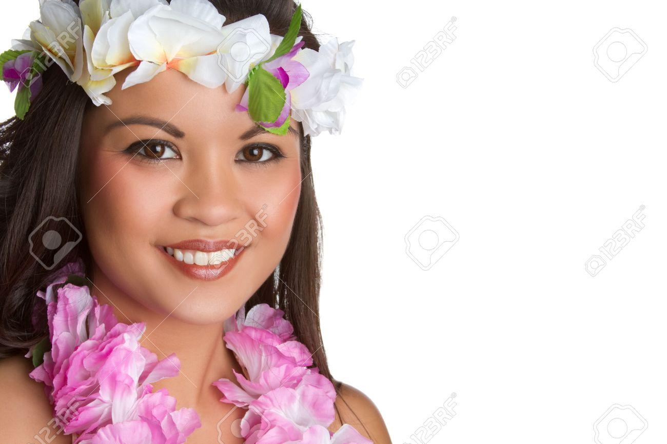 Beautiful smiling hawaiian tropical woman - 7232765