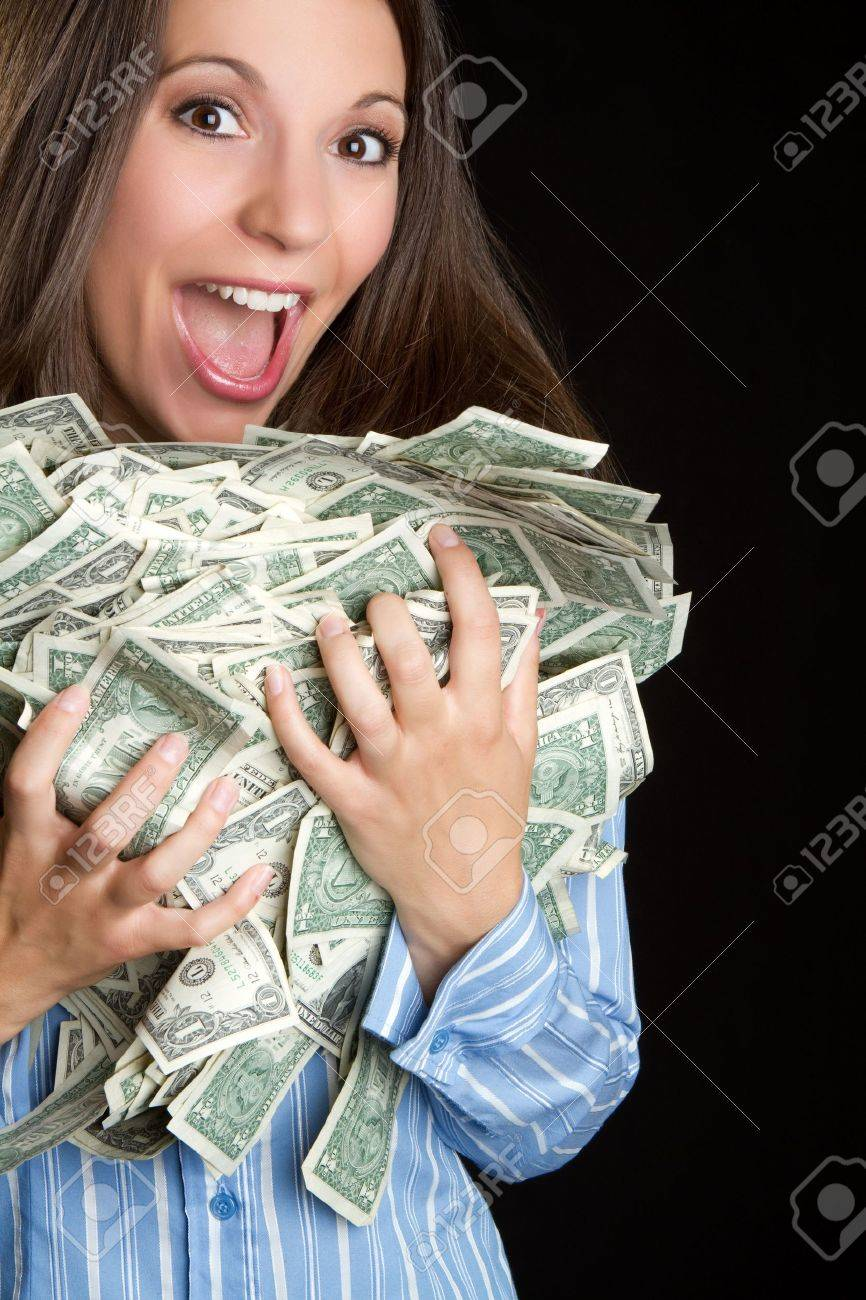 Excited woman holding money - 7525780