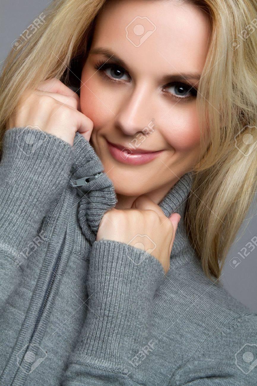 Pretty blond winter sweater woman Stock Photo - 7525802