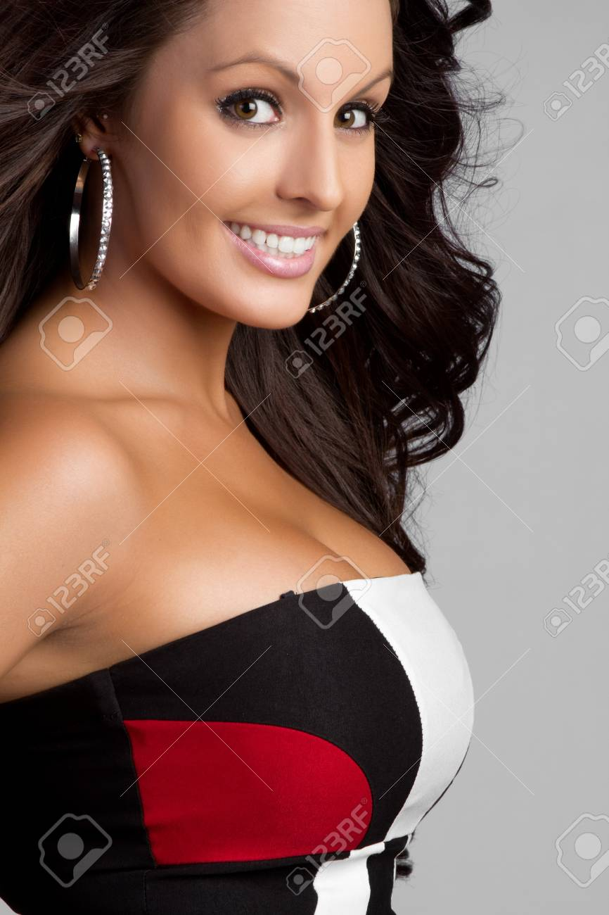 Beautiful smiling happy brunette girl Stock Photo - 9466135