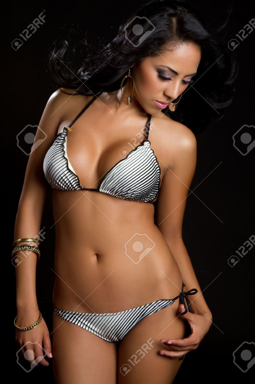 Beautiful hispanic bikini swimwear woman Stock Photo - 9475856 950addf84a4e