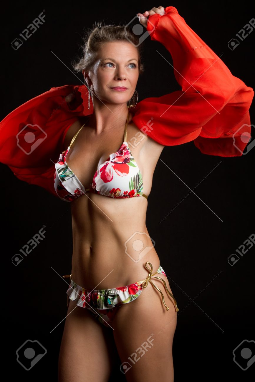Beautiful middle aged bikini woman Stock Photo - 10435393