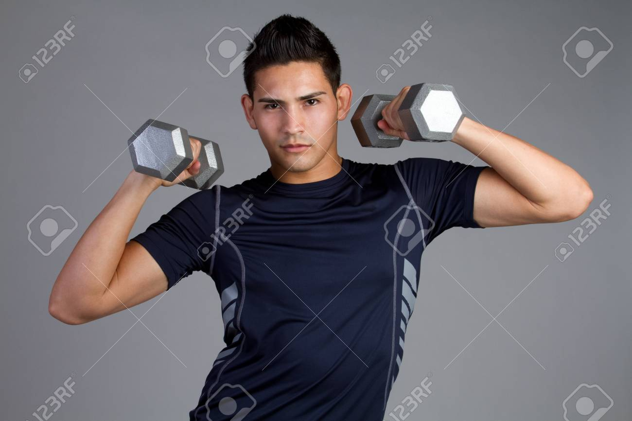 Young fit hispanic man exercising Stock Photo - 11215871