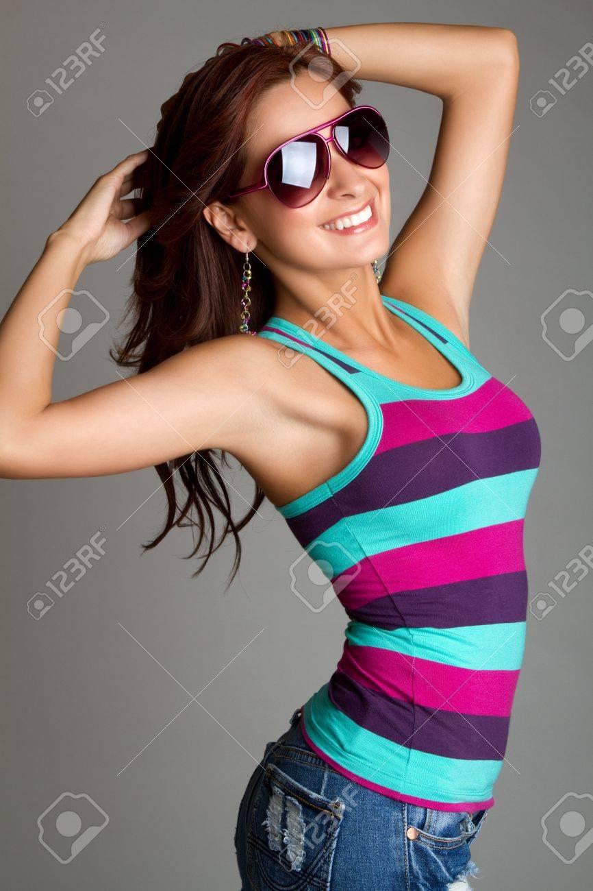 Beautiful smiling woman wearing sunglasses Stock Photo - 11250225