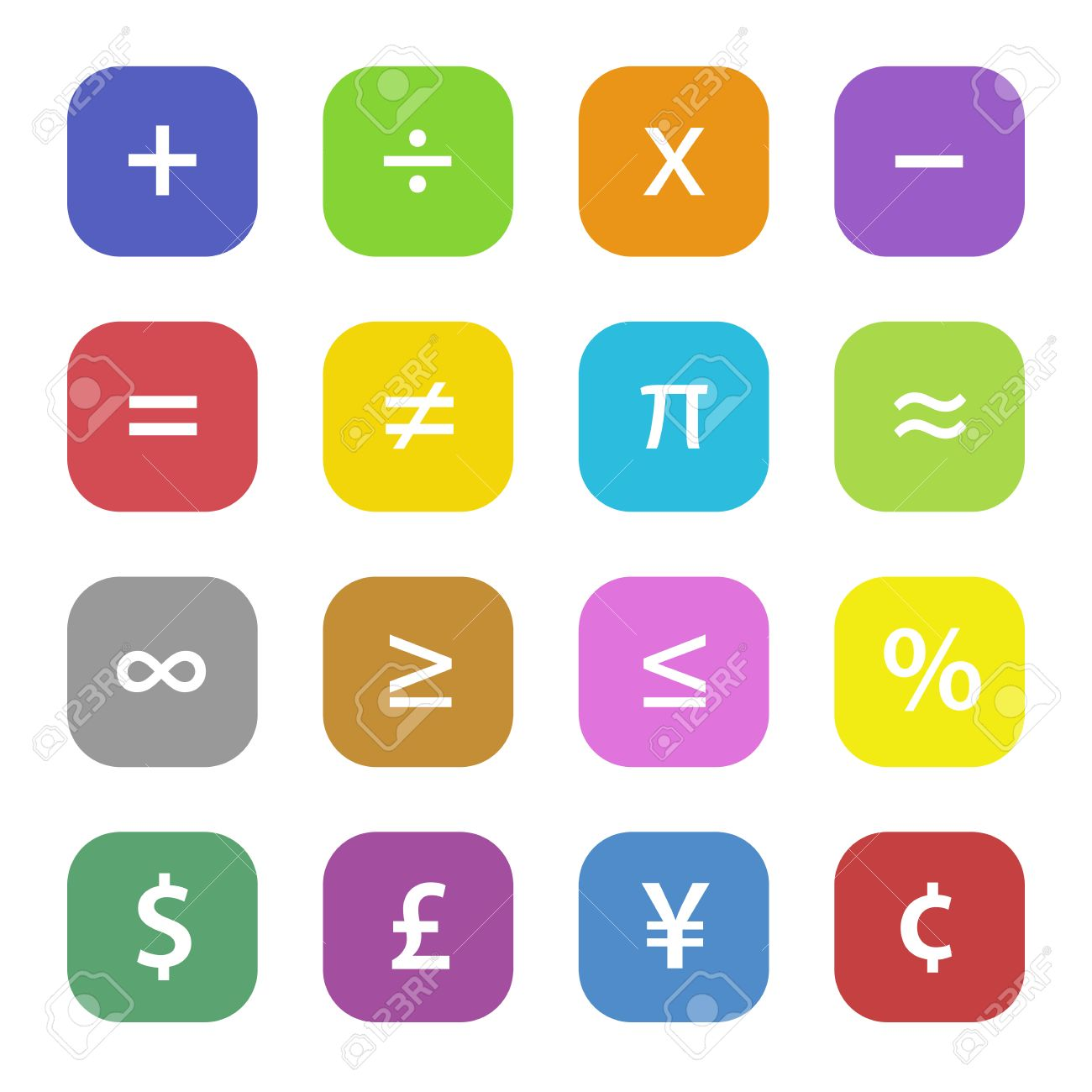 Colorful math financial symbols set - 27425069