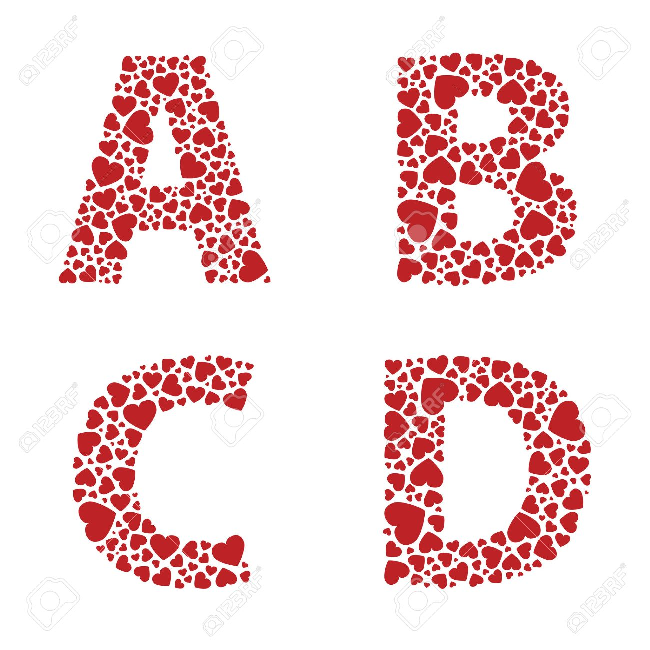 Abcd Heart Alphabet Letters Font Royalty Free Cliparts Vectors And