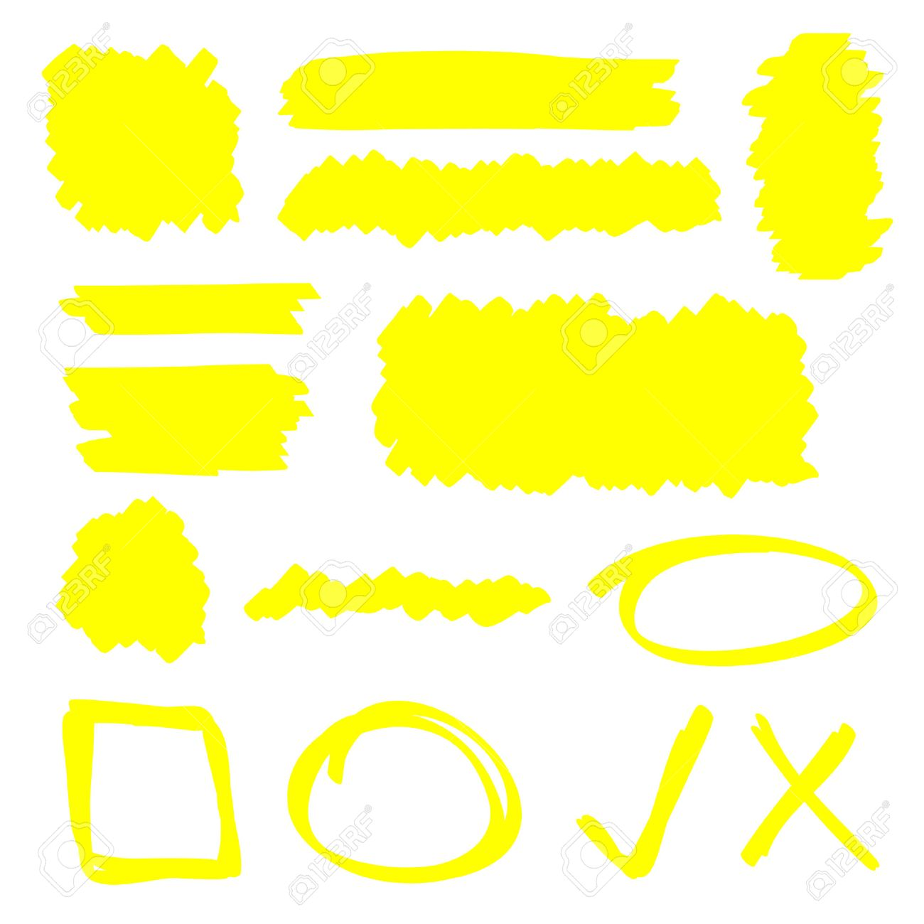 Yellow highlighter marker illustration set - 30150602