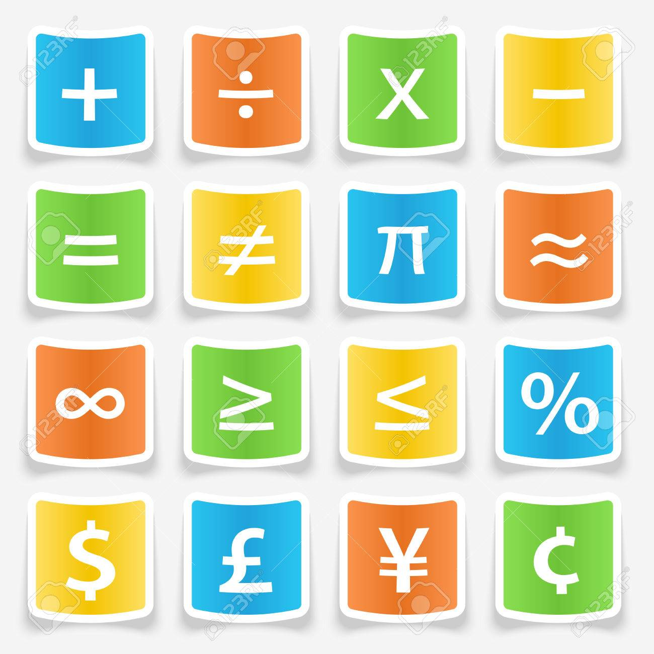 Math Symbol Stickers Web Buttons Royalty Free Cliparts Vectors And