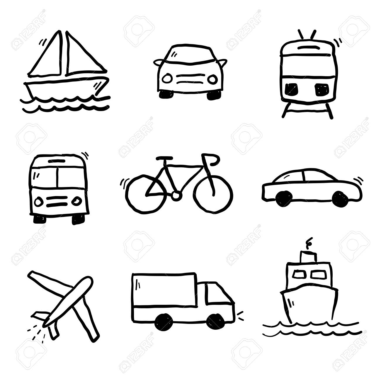 Transportation Doodle Drawings Collection Vector Illustration