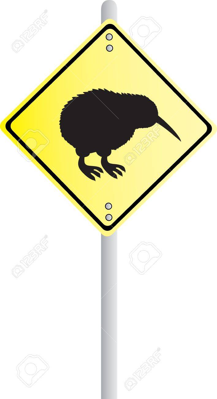 Kiwi Crossing Road Sign Stock Vector - 9419730