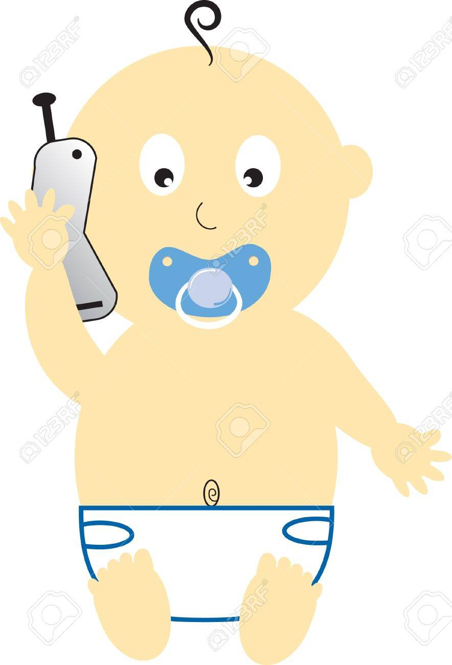 Baby Boy on Cell Phone Stock Vector - 9419727