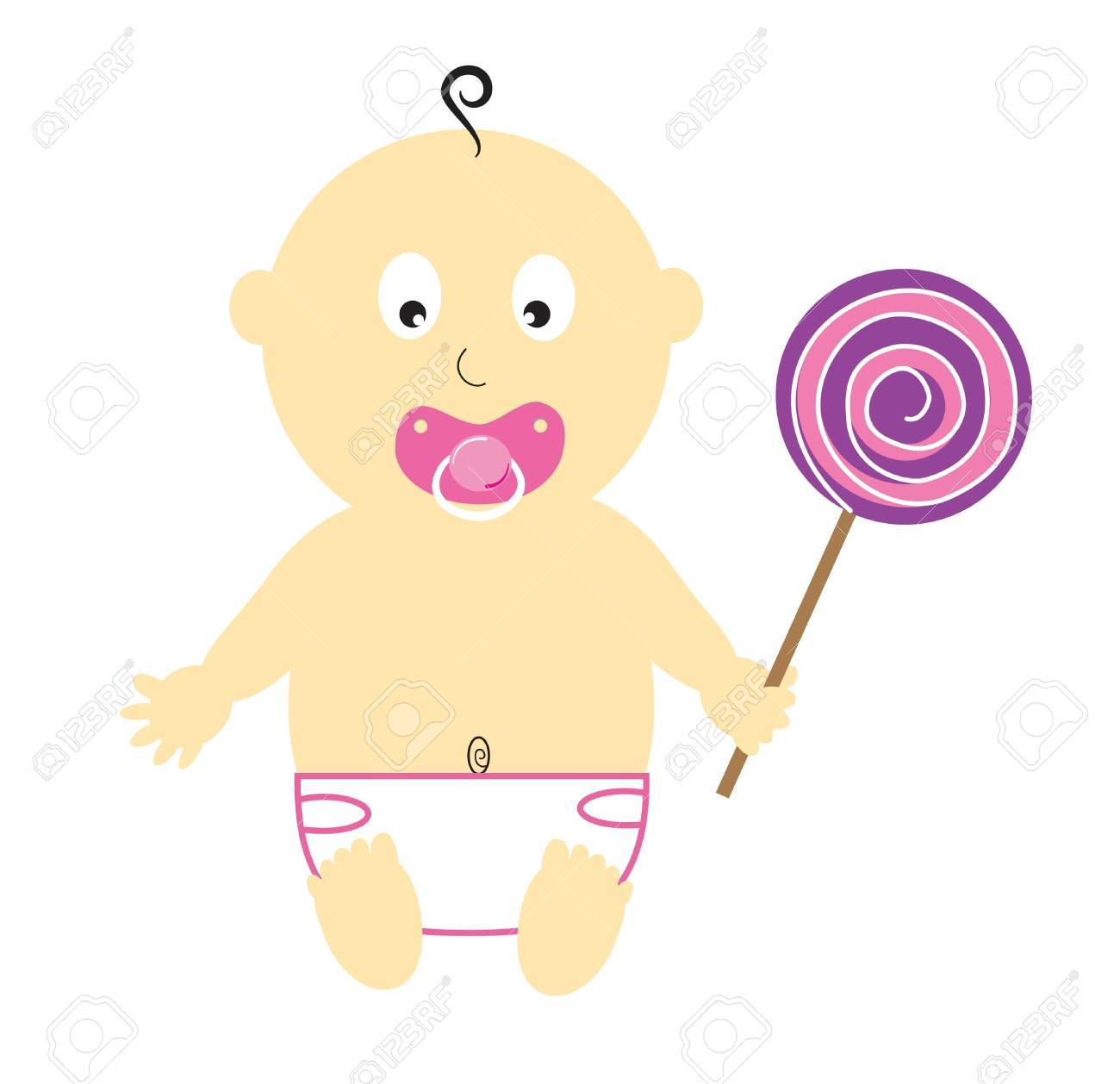 Baby Girl With Lollipop Stock Vector - 10229646
