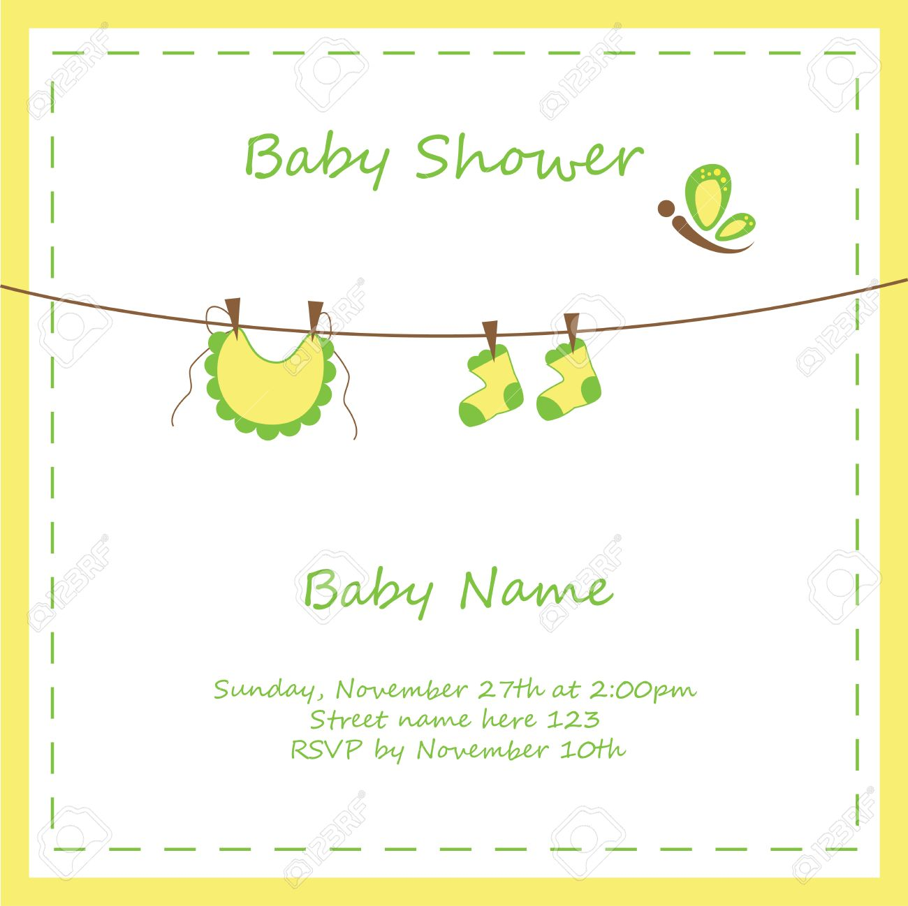 Neutral Baby Shower Invitation Royalty Free Cliparts Vectors And Stock Illustration Image 23009902