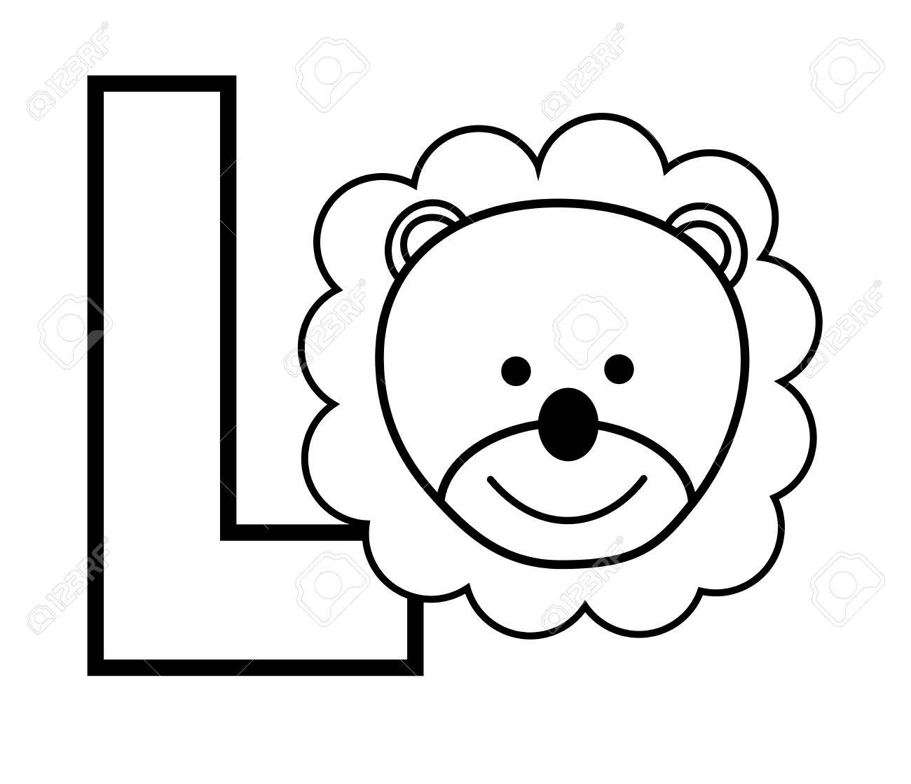 L Is For Lion Coloring Page Royalty Free Cliparts, Vectors, And ...