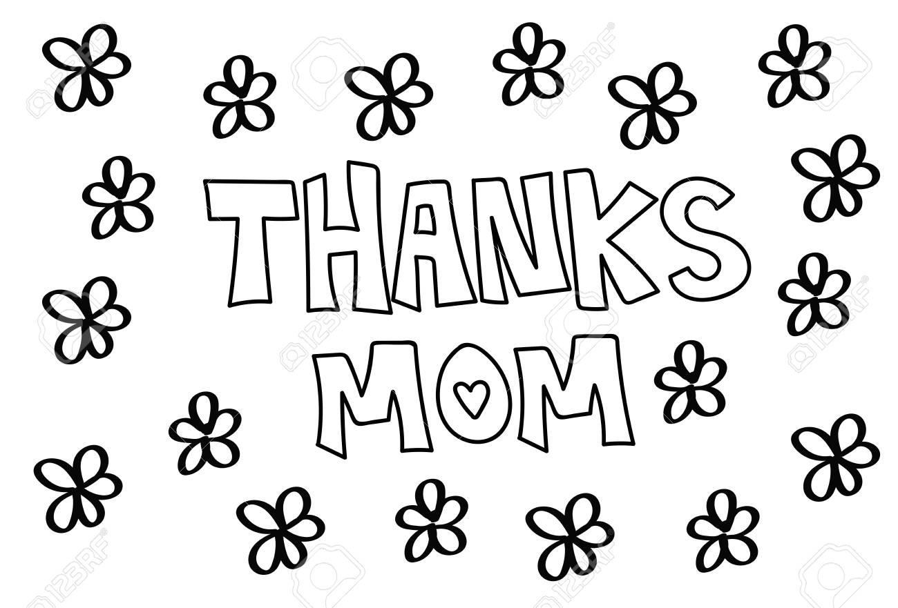 Gracias Mamá Flores Para Colorear Ilustraciones Vectoriales, Clip ...