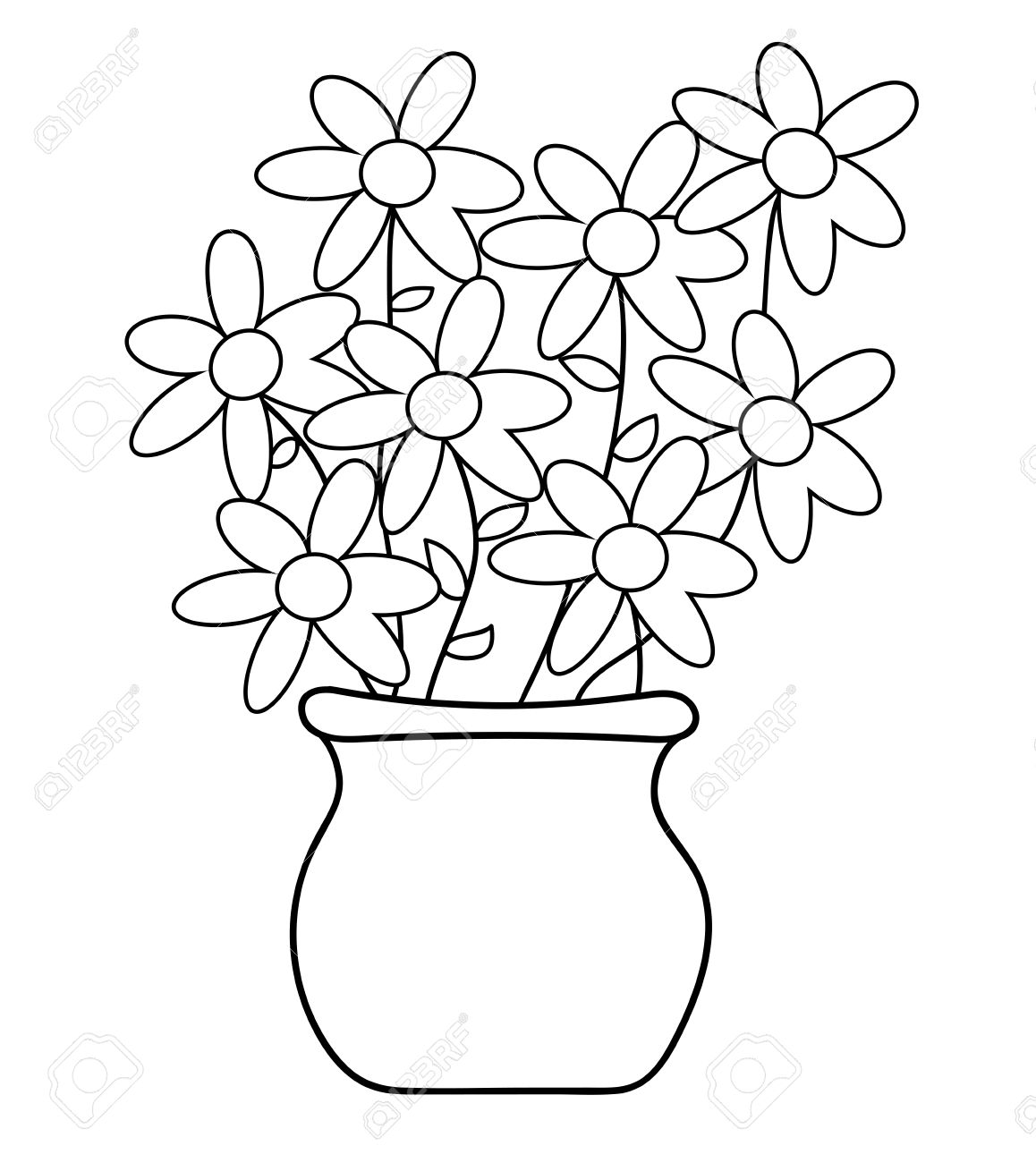 Flower Pot Coloring Page Stock Vector
