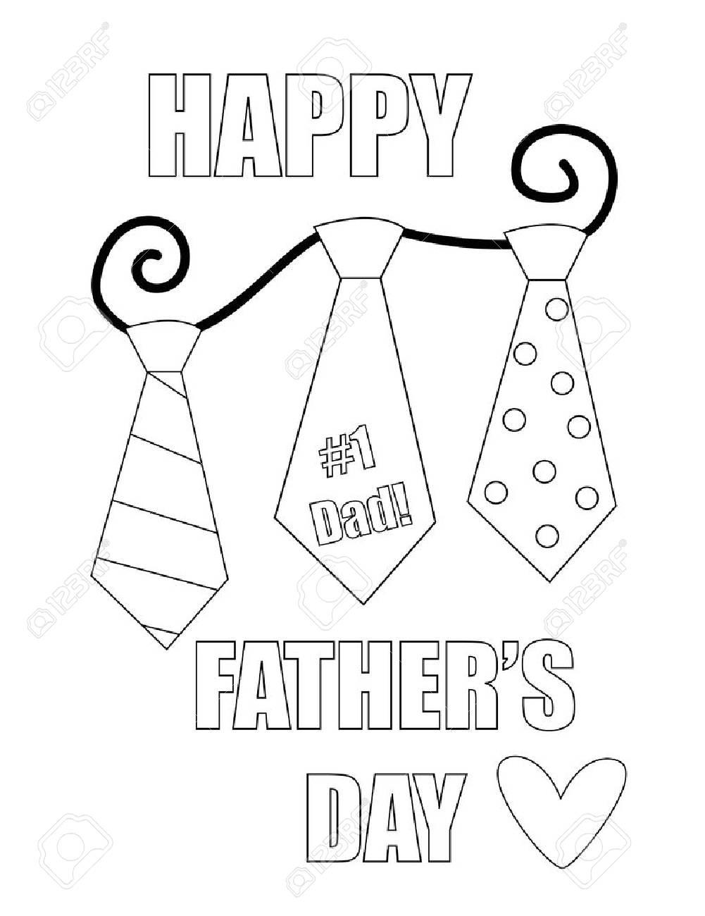 Día De Padres Feliz Para Colorear Página Ilustraciones Vectoriales ...